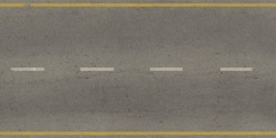Seamless texture of grey, slightly worn road with yellow and white stripes.