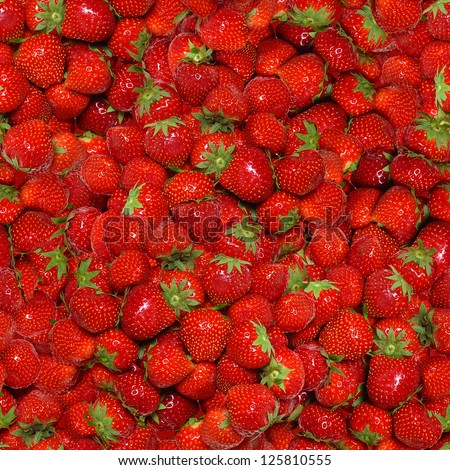 Seamless texture of juicy strawberries.