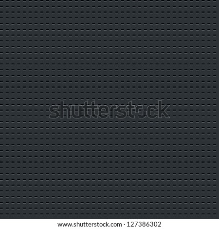 Seamless texture subtle pattern perforated metal tile surface with rectangle hole dark gray background. Contemporary swatch simple modern style. This image is a bitmap copy my vector illustration