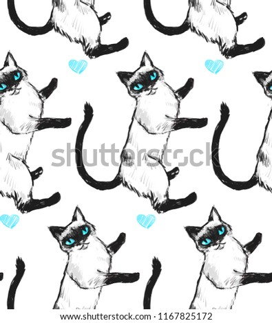Seamless texture with Nice Siamese cat with blue eyes. Repeating background. Can be used as wallpaper, desktop, wrapping, fabric or background for your blog, covers, cards.