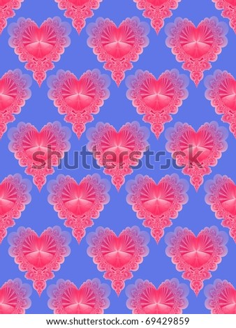 Seamless tile featuring a fading pink heart on a blue background.