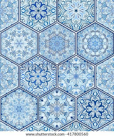 Seamless tile pattern. Blue boho pattern. Mandala ornament pattern. Flower hexagon pattern. Unusual pattern vector. Oriental tile pattern. Pattern design elements. Portuguese round tile pattern.