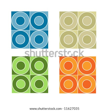 Seamless tile pattern with circles inside squares.