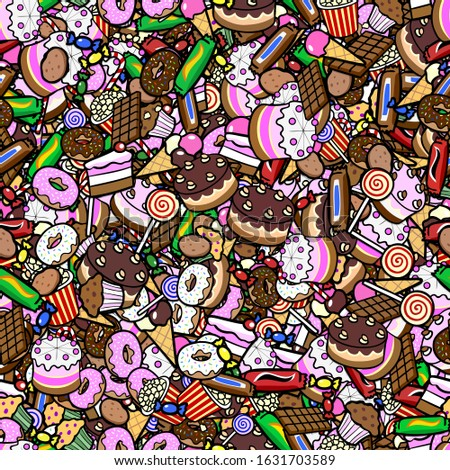 Seamless tileable background texture with lots of colorful confectionery and dessert