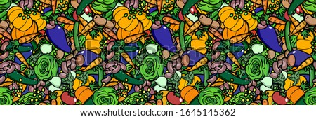 Seamless tileable header background with colorful vegetables illustration
