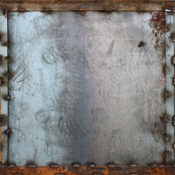 seamless tileable metal plate with frame texture, background