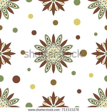 Seamless tiling texture with green and brown mandalas and dots. Great for wrapping paper, backgrounds or fabric.Can also be used for wallpaper, pattern fill, web page background.