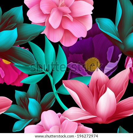 Seamless tropical colorful flowers, plant jungle pattern background