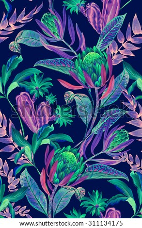 seamless tropical floral pattern. rare jungle flowers and plants, dark neon colors, beautiful composition.