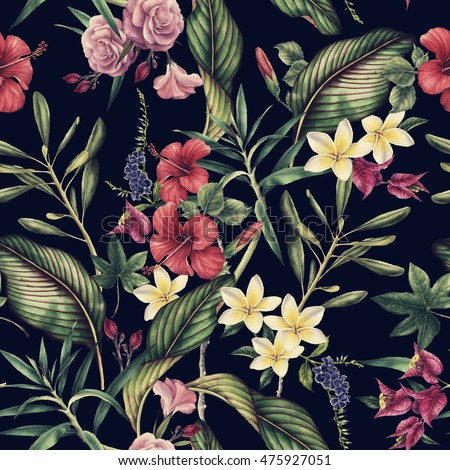 Seamless tropical flower pattern, watercolor.