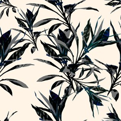 Seamless  tropical flower, plant and leaf pattern background, botanical style. Stylish flowers