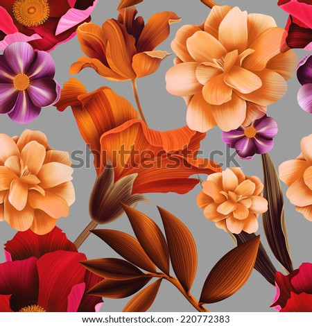 Seamless tropical flower, plant and leaf pattern background, in Hawaiian style