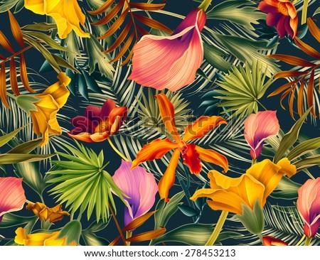 Leaf pattern background retro botanical style stylish flowers print - Seamless Tropical Flower Plant And Leaf Pattern