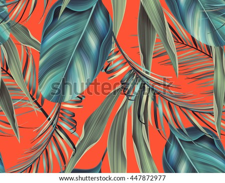 Seamless tropical flower, plant and leaf pattern background, retro botanical style. Stylish flowers print