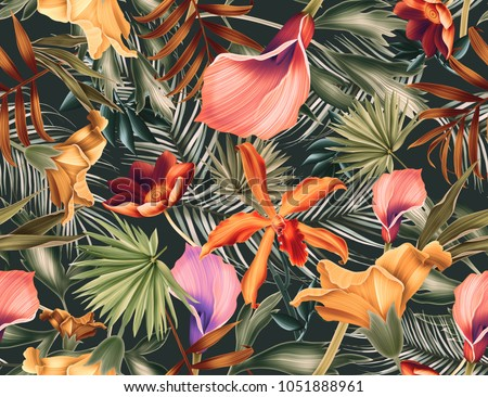 Seamless tropical flower, plant and leaf pattern background. Tropical pattern for fashion. Colorful leaves.