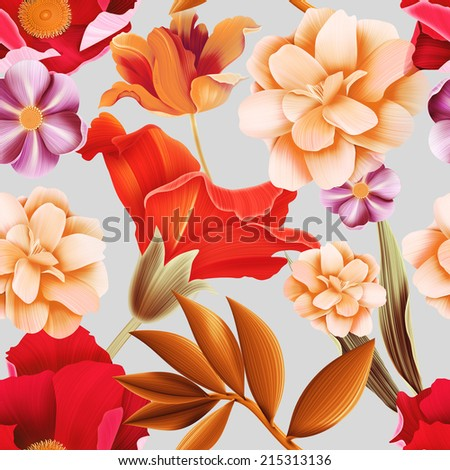 seamless tropical flower, plant pattern background