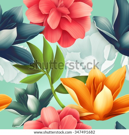 Seamless tropical flower, plant pattern background. Hawaiian, californian, florida summer style