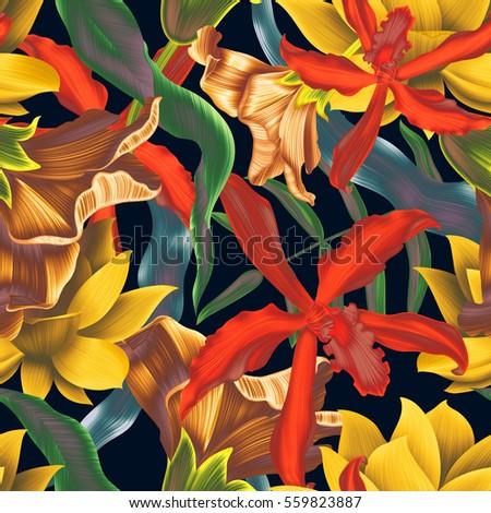 Seamless tropical flower, plant pattern background. Hawaiian, californian, florida summer style pattern