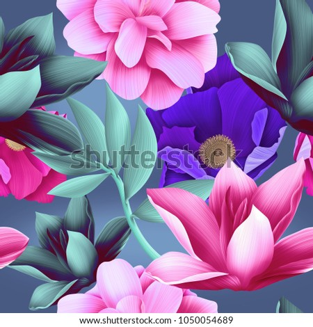 Seamless tropical leaves and flowers pattern, jungle print design. Fashion trendy tropical background. Vibrant Hi Quality botanical artwork.