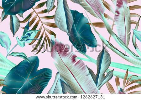 Seamless tropical leaves pattern background, retro botanical style. Stylish tropic print. Tropical leaf fashion pattern.