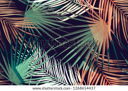 Seamless tropical palm leaves pattern. Background with palm leaf in botanical style. Stylish tropic print. Tropical leaf fashion pattern.