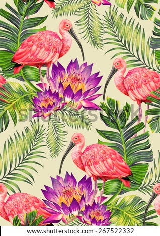 seamless tropical pattern with birds and flowers. exotic palms and scarlet ibis in a beautiful vintage style design for fashion or interior