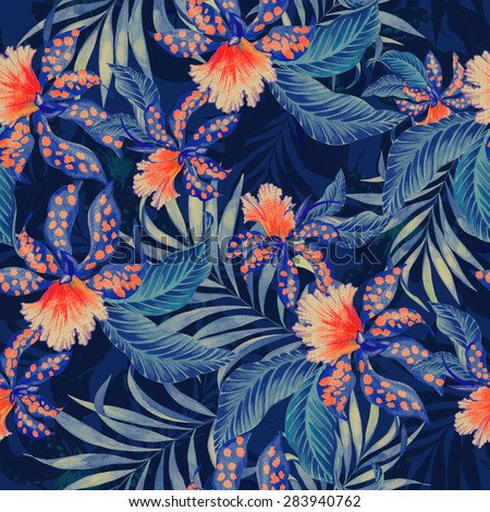Seamless  tropical pattern with double exposure effect. exotic lilies, orchids and palms in vintage style illustration, overlapping and creating silhouettes and shadows. stylish fashion pattern.