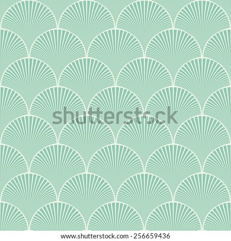Seamless turquoise japanese art deco floral waves pattern