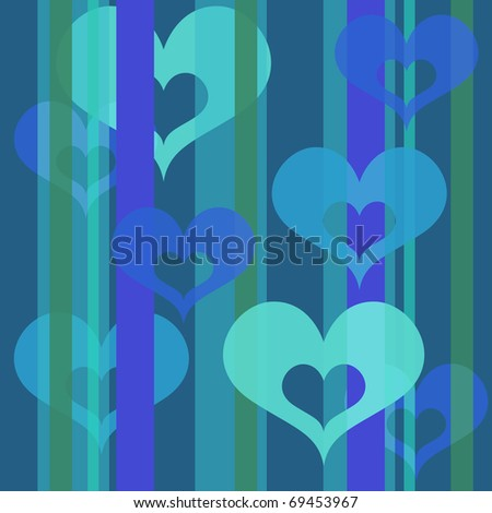 Seamless Valentine hearts and stripes shapes wallpaper background