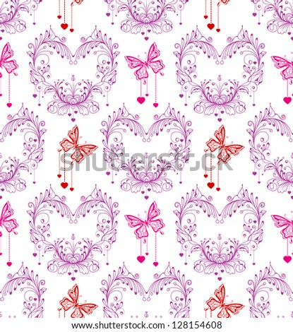 Seamless vintage background with floral ornament and butterfly