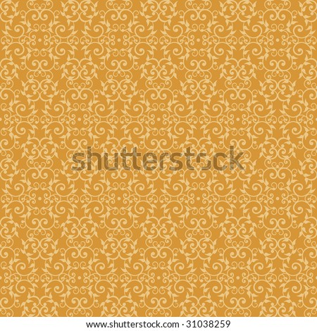 "Seamless vintage pattern in yellow on orange background. 12"" repeat. Vector also available."