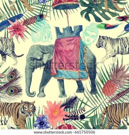 Seamless vintage style watercolor pattern with indian elephant, tigers. Hand drawn illustration.