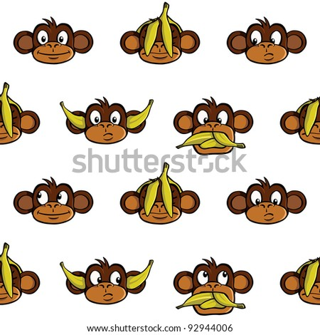 Seamless wallpaper background with various monkey heads.