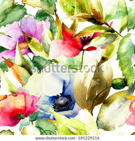 Seamless wallpaper with Beautiful flowers watercolor illustration