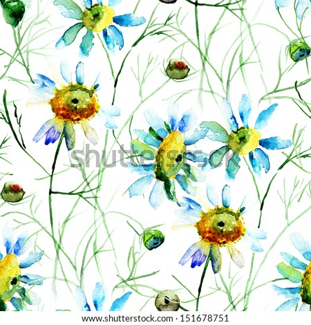 Seamless wallpaper with Camomile flowers, watercolor illustration