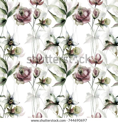 Seamless wallpaper with Narcissus and Roses flowers, Watercolor painting
