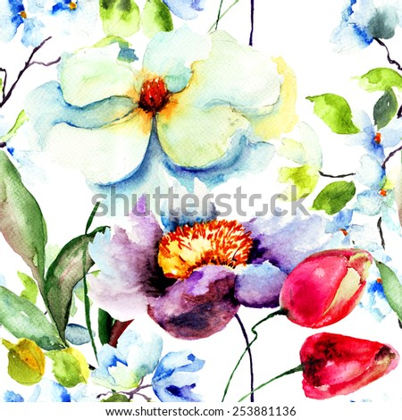 Seamless wallpaper with Spring flower, watercolor illustration