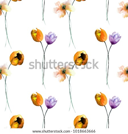 Seamless wallpaper with spring flowers, Watercolor painting