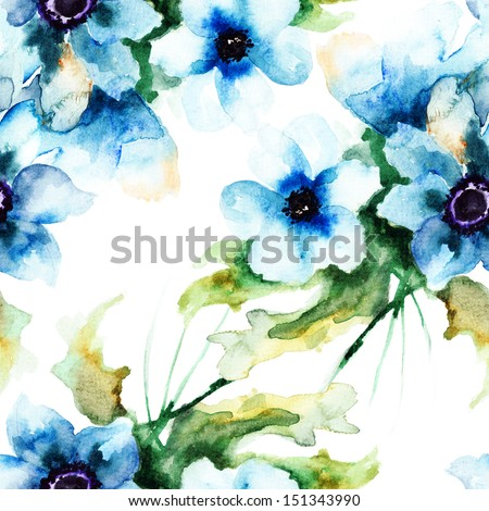 Seamless wallpaper with Summer blue flowers, watercolor illustration