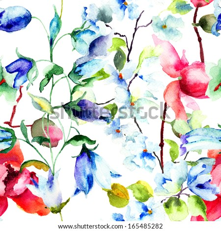 Seamless wallpaper with Summer flowers, watercolor illustration