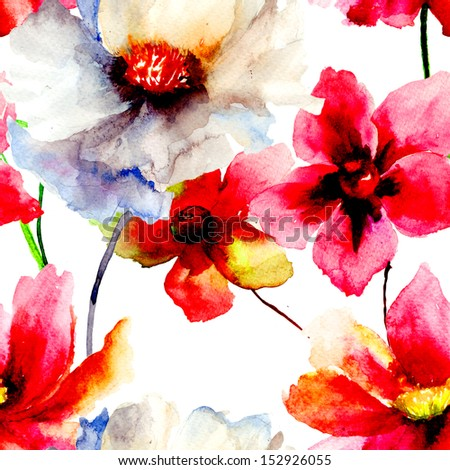 Seamless wallpaper with summer flowers Watercolor painting
