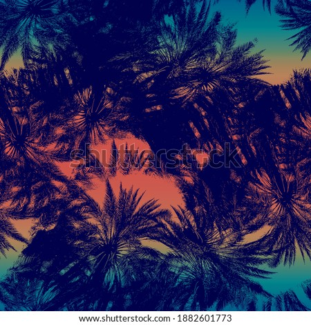 Seamless warm sunset tropical pattern navy blue foliage on sunset gradient. High quality illustration. Swim, sports, or resort wear repeat print. Ombre fade background. Seamless repeat pattern swatch.