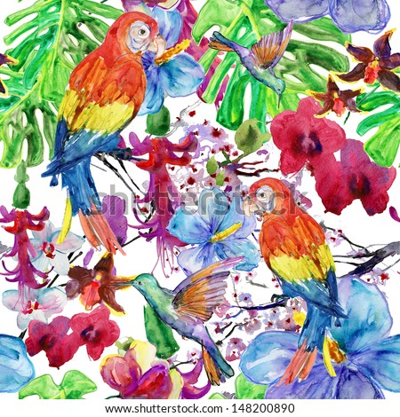 seamless watercolor background, flora tropical flowers, birds and leaves.