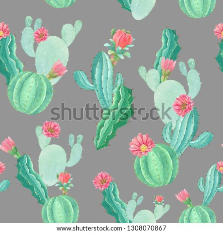 seamless watercolor background illustration mix colorful floral flower and cactus with line art used for background texture, wrapping paper, textile greeting card templateor wallpaper design