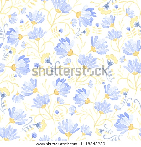 Seamless Watercolor background with floral patterns. Blue tulips, chamomile,  leaves. Summer ornament. It can be used for wallpaper, printing on the packaging paper, textiles.