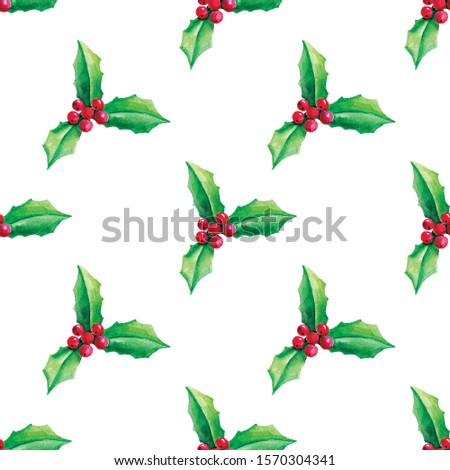 Seamless watercolor background with holly. Christmas background with holly and berries.