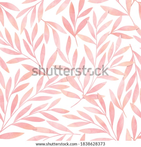 Seamless watercolor botanical pattern. Digitally hand painting floral background. Modern leaves design for fabric, wallpaper, surface.