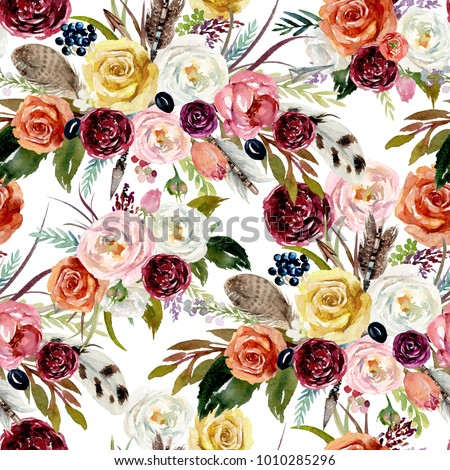 Seamless watercolor ethnic boho floral pattern - vivid flowers, feathers & arrows on white background, Native American tribe decor, tribal isolated illustration bohemian ornament, Indian, Peru, Aztec.