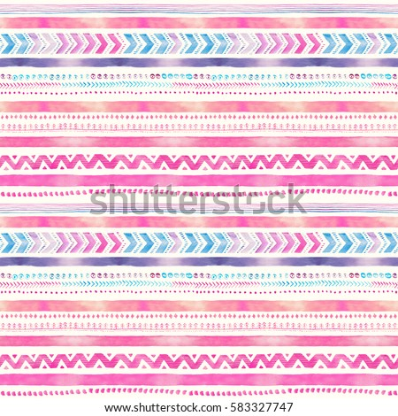 Seamless Watercolor Ethnic Tribal Ornamental Pattern. Hand-painted romantic texture for Fabric, Wrapping Paper, Greeting and invitation card Design Template.