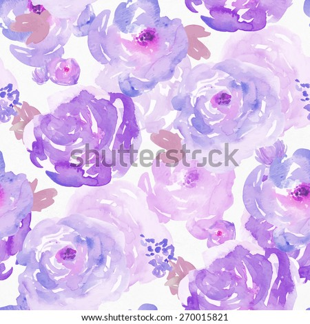 Seamless Watercolor Floral Background Pattern. Purple Watercolor Flowers Background Pattern.